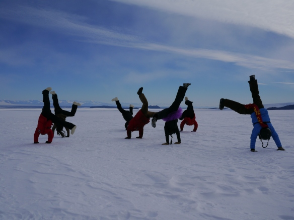 "A group cartwheel session on the route to ""Room With A View"".  I am on the far right in the blue jacket.  This pic was taken on my birthday which is why I'm wearing the Birthday Boy cape!"